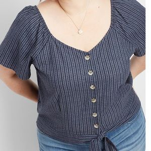 NWT Maurices Button Front Flutter Sleeve Top